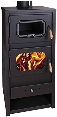 Estufa de leña de Metalic con horno quemador de leña, chimenea para cocinar, sólida, combustible, 13kW
