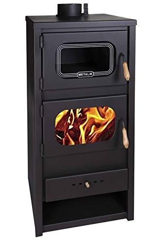 Estufa de leña de Metalic con horno quemador de leña, chimenea ...