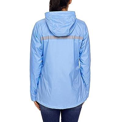Lrud Women's Raincoat Lightweight Waterproof Rain Jacket Hoodie Active Casual Coat