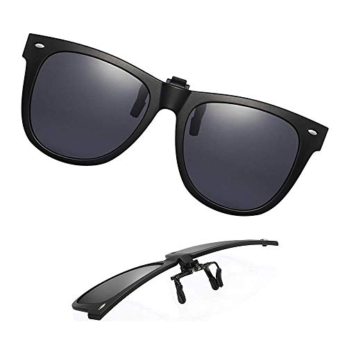 Clip-On Sunglasses Polarized Unisex Anti-Glare Driving, Black, Size ()