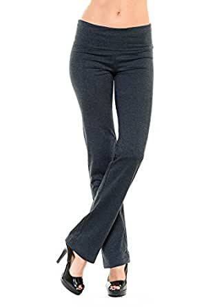 Yourstyle USA Women's Yoga Fold Over Pant Soft Cotton Span Strech Yoga Pants (Large, Charcoal)