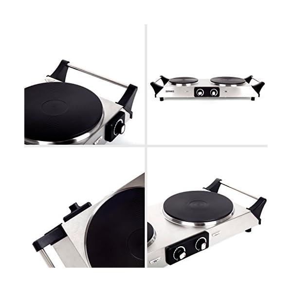 Duronic HP2SS Fornello elettrico da campeggio 2500 W Piano cottura portatile in acciaio INOX con 2 piastre elettriche in… 7 spesavip