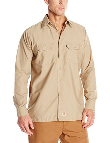Red Kap Men's Solid Rip Stop Shirt, Khaki, Large -