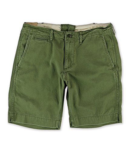 Denim & Supply Ralph Lauren Mens Twill Flat Front Khaki, Chino Shorts Green 30 (Green Khaki Lauren Ralph)