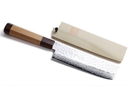 Yoshihiro VG-10 46 Layers Hammered Damascus Nakiri/Usuba Japanese Vegetable Chefs Knife (Octagonal Red Pine Handle) by Yoshihiro