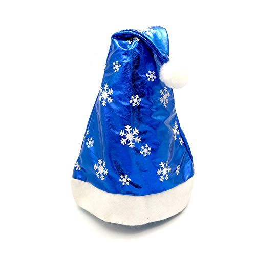 DEATU New Adult Child Christmas Party Hat Sale Snowflake Pattern Cap for Santa Claus Costume(Blue