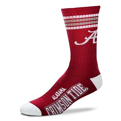 NCAA 4 Stripe Deuce Socks - Men's Large (fits 10-13) (Alabama Crimson (Ladie Crimson Arch)