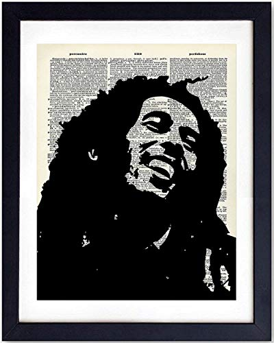 Upcycled Bob Marley Dictionary Wall Art Print - Vintage 8x10 Unframed Photo - Great Gift for Music and Reggae Fans - Cool Home Decor