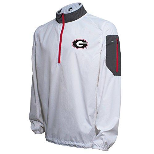Crable NCAA Georgia Bulldogs Men's Lightweight Windbreaker Pullover, White/Red, Medium