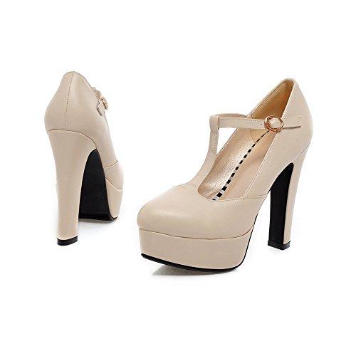 YCMDM DONNA Ultra High con la moda scarpe T stazione Buckle impermeabili della piattaforma singoli pattini , beige , 34