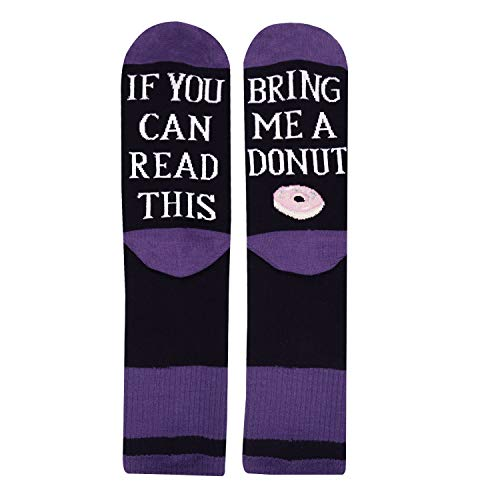 Women's If You Can Read This Funny Sayings Novelty Socks for Donut Lovers