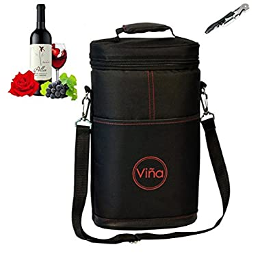 Vina® 2-bottle Wine Carrier Bag Champagne Carrying Tote Bags Picnic Cooler Insulated Travel Wine Case Black +Free Corkscrew