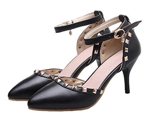 AgeeMi Shoes Damen Schnalle Rein PU Hoher Absatz Spitz Zehe Pumps Schuhe Schwarz