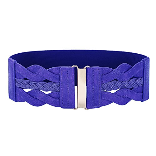 Women's Elastic Vintage Belt Stretchy Retro Wide Waist Cinch Belt(Blue,M) (Leather Waist Cinch Belt)