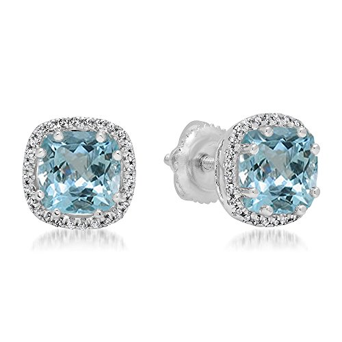- Dazzlingrock Collection 14K Cushion Cut Aquamarine & Round Cut White Diamond Ladies Halo Style Stud Earrings, White Gold