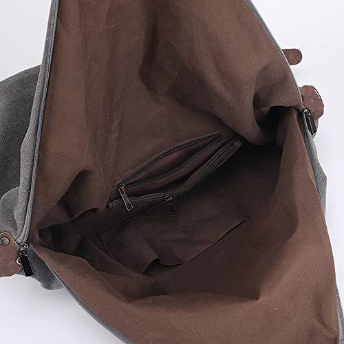 Militar marrón Cremallera FHGJ Caqui Bolsas Mujer de con para Color Lona Verde v47qv
