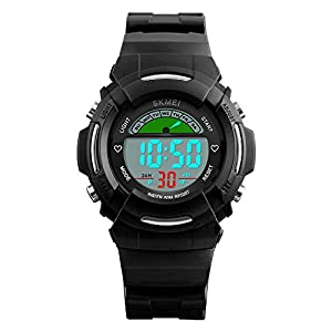 Kids Sport Digital Wrist Watches for Boys with Alarm - 9 inches (235 millimeters), Black / Water-proof