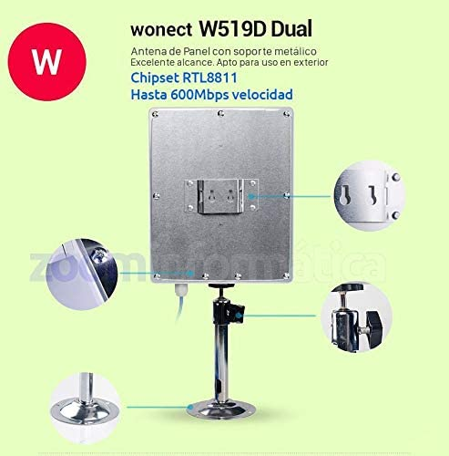 Antena WiFi Panel USB Cable 5 Metros AC600 Realtek RTL8811 Wonect W6 Exterior Largo Alcance Doble Banda 2.4Ghz y 5Ghz. Cable Integrado USB 5m