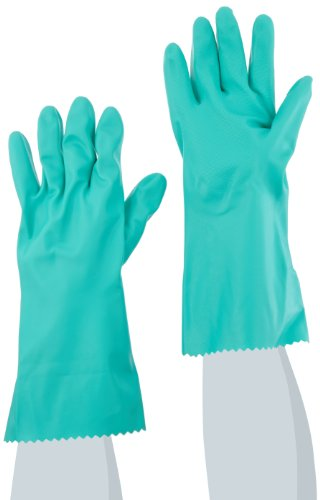 MAPA Stansolv AK-22 Nitrile Mediumweight Glove, Chemical Resistant, 0.033'' Thickness, 14'' Length, Size 10, Green (Bag of 12 Pairs) by MAPA Professional (Image #1)