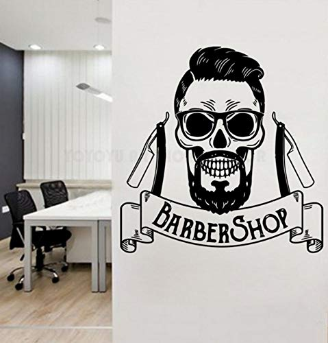 Dalxsh Barber Shop Wall Window Decal Art Man Salon Make Up Store Window Sticker Salon Logo Wall Sticker -
