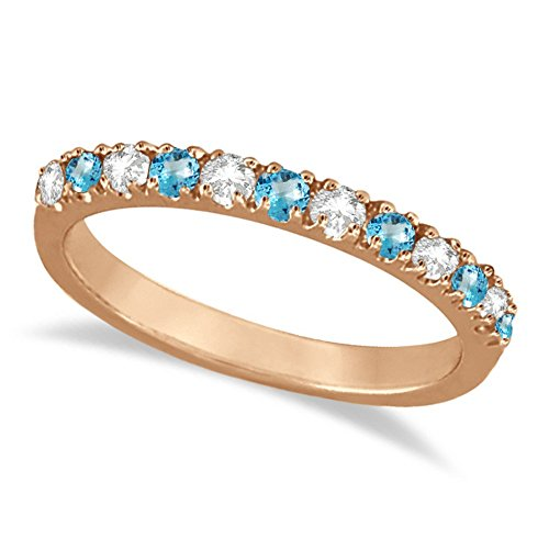 Diamond and Blue Topaz Stackable Ring Anniversary Band For Women 14k Rose Gold (0.32ct)