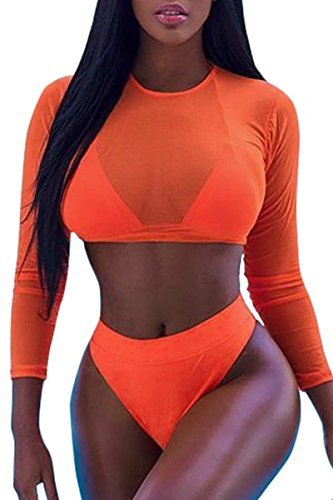 Meyeeka Womens Long Sleeve Rashguard Swimwear High Waist 2 Pieces Bathing Suit S - 2 Stretch Piece Mesh