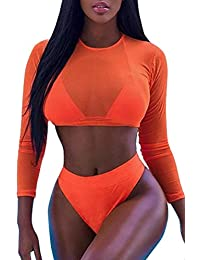 Womens Sexy High Waist Rash Guard Swimwear Long Sleeve 3PCS Swimsuit