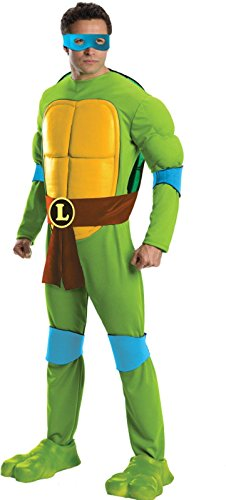 Rubie's Costume Men's Teenage Mutant Ninja Turtles Deluxe Adult Muscle Chest Leonardo, Green, Standard - Teenage Mutant Ninja Turtles Adult Costumes