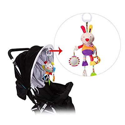 Baby Toys Hanging Rattle Crinkle Squeaky Educational Toy Infant Newborn Stroller Car Seat Crib Travel Activity Plush Rabbit Shape Wind Chime with Teether : Baby
