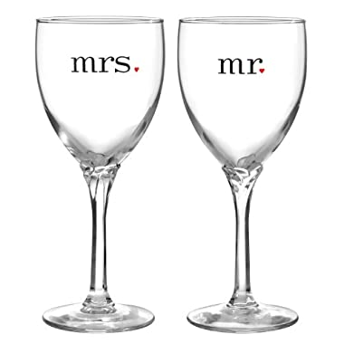 Hortense B. Hewitt Wedding Accessories Mr. and Mrs. Wine Glasses, Set of 2