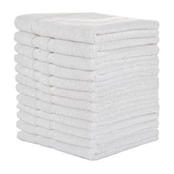 SERISIMPLE Bamboo Washcloth 13x13 Adult Size Face Towels Ultra Thick Antibacterial, 3-count, White high-quality