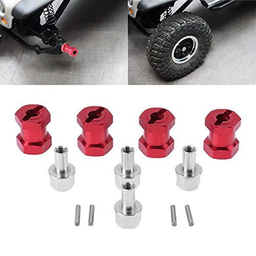 15mm Offset for SCX10 Wraith 1//10 RC Rock Crawler Red Jack-Store 4 psc Aluminum Alloy 12mm Wheel Hub Hex Drive Adaptor
