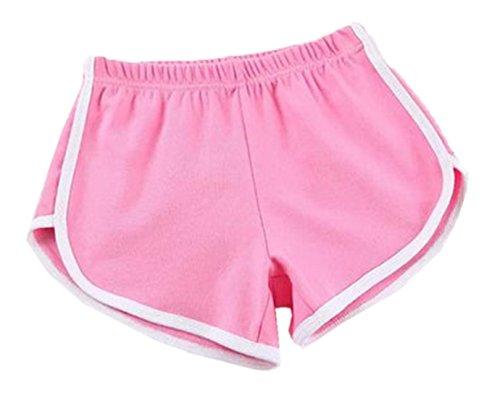 2018 Estivo Donna Pantaloncini Casual Spiaggia Shorts Sportivi Bianco Righe Cucitura Jogging Fitness Yoga Elasticizzati Corto Pantaloni Rosa