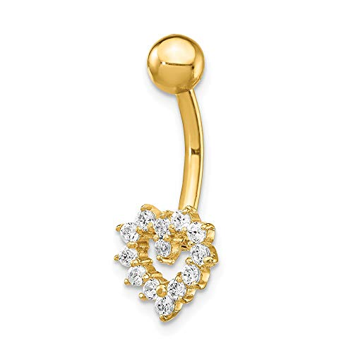 14k Yellow Gold Cubic Zirconia Cz Heart Belly Band Ring Body Naval Fine Jewelry Gifts For Women For Her ()