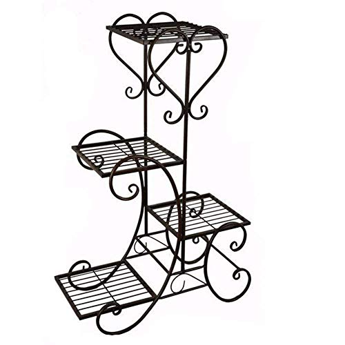 New Black Garden Decor Flower Rack Wrought Iron Metal Outdoor Indoor Pot Plant Stand