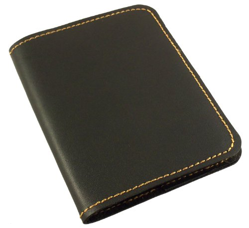 Refillable Leather Pocket Notebook - Mini Composition Cover - Fits Standard 4.5 x 3.25 Mini Composition Book (Black)