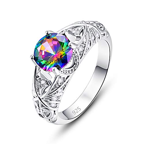 Veunora 925 Sterling Silver Plated Lab-Created Rainbow Topaz Promise Proposal Engagement Wedding Rings for Women Girl Size ()
