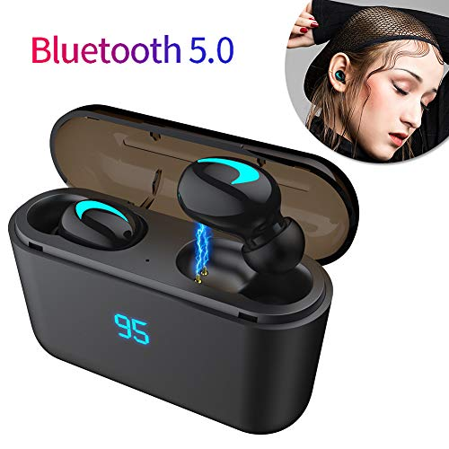 yunbox299 True Wireless Earbuds,Bluetooth Headphones,Heavy Bass TWS Stereo Wireless in-Ear V5.0 Bluetooth Earphones with Charge Case Black Digital