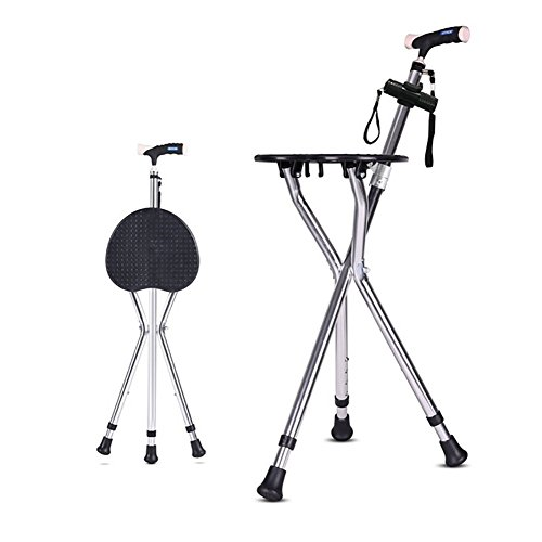 Telescopic Cane Chair For The Elder Three Legged Collapsible Cane Stick Disability Medical Aid Crutchs With Seat Folding LED Light by LAGZ