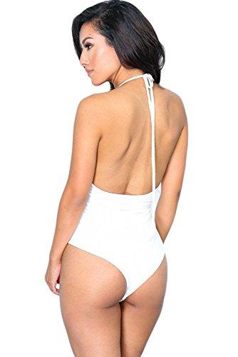 New Damen Weiß Crochet Spitze Neckholder Teddy Body Dessous Monokini Gymnastikanzug Teddies Pole Dance Größe M UK 10�?2EU 38�?0