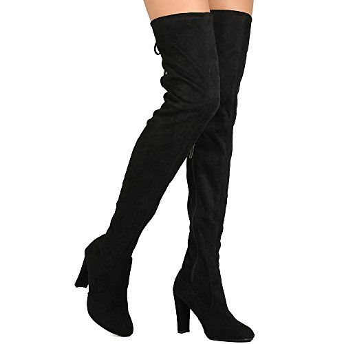 ShoBeautiful Womens Thigh High Boots Over The Knee Party Stretch Block Mid Cupped Heel Dress Boots Black (Long Suede Boots)