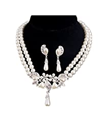 Sparkly Rhinestone Bridal Jewelry Sets Wedding Party Necklace Earrings Set
