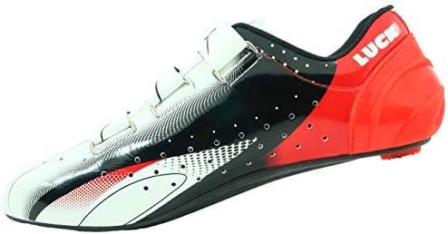 LUCK Zapatillas de Ciclismo EVO Rojo, para Carretera, con Suela de Carbono,Muy rigida y Ligera y Triple Tira de Velcro.