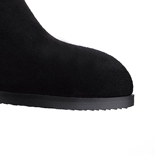 Allhqfashion Womens Pull-on Low-tall Boots Materiali Solidi Stivali Bassi Neri