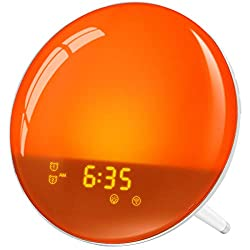 LATME-Sunrise-Alarm-Clock-Wake-Up-Light Compatible with Alexa Google Home with Colored Sunrise Simulation and Sunset Fading Night Light for bedrooms,FM Radio,4 Alarms Snooze Function