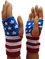 Fingerless Hand Warmers Knit Gloves Mittens Thumb Hole USA American Flag