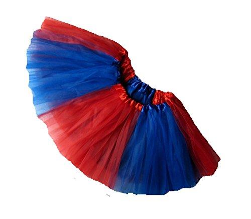 Southern Wrag Company ADULT TEAM SPIRIT Tutu RED ROYAL BLUE Sizes S-XXL (M: TUTU WAIST 26-48) (Harley Quinn Costume Teen)