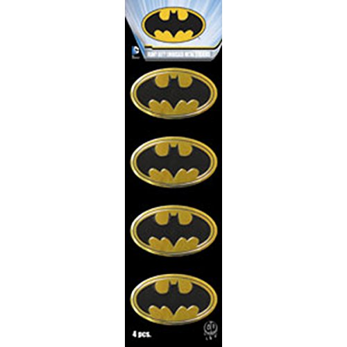 "DC+Comics Products : BATMAN Logo 4pc Set, Officially Licensed DC Comics Originals, Premium Vinyl Gold Metallic Finish, 1.5"" Mini Metal STICKER"