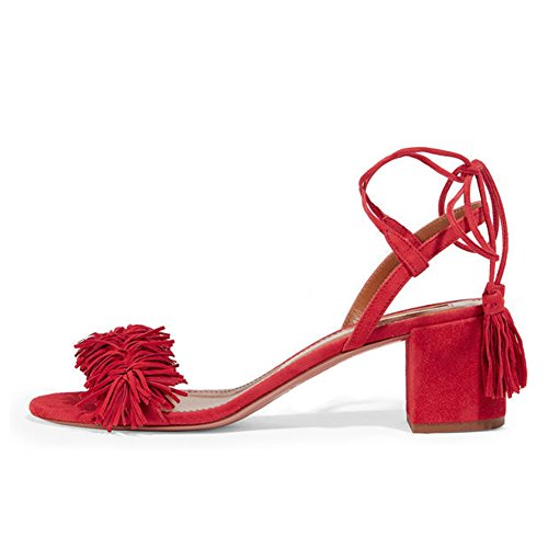 Comfity Block Heels for Women Women's Lace Up Sandals Fringed Tassel Shoes Ankle Ties Dress Sandals 9 M US Red