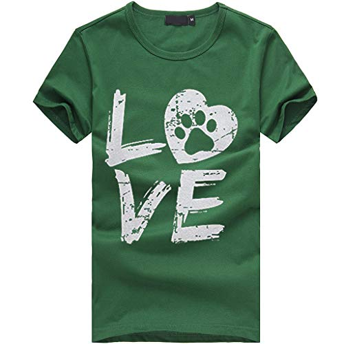 TWGONE Tshirts With Sayings For Women Plus Size Loose Short-Sleeved Love Letter T-Shirt Casual O-Neck Top(Large,Green-f)